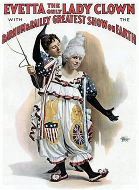 Barnum-and-Bailey---Evetta-The-Only-Lady-Clown